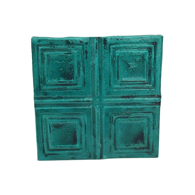 Antique Teal Squares Tin Panel For Sale - Image 4 of 4