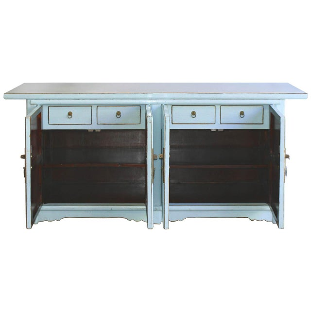 Asian Asian Modern Baby Blue Lacquer Sideboard For Sale - Image 3 of 7