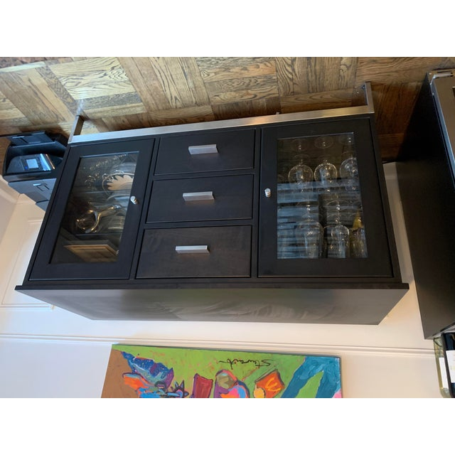 Solid Maple Wood with Charcoal Stain, Stainless Steel Custom Room & Board Cabinet 3 center drawers and 2 glass shelving...