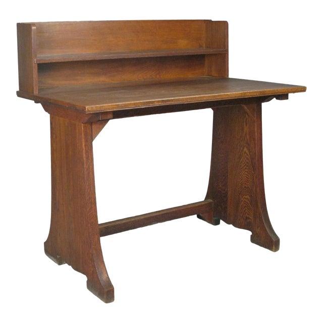 Antique Arts & Crafts Oak Desk From Harvard Divinity School For Sale