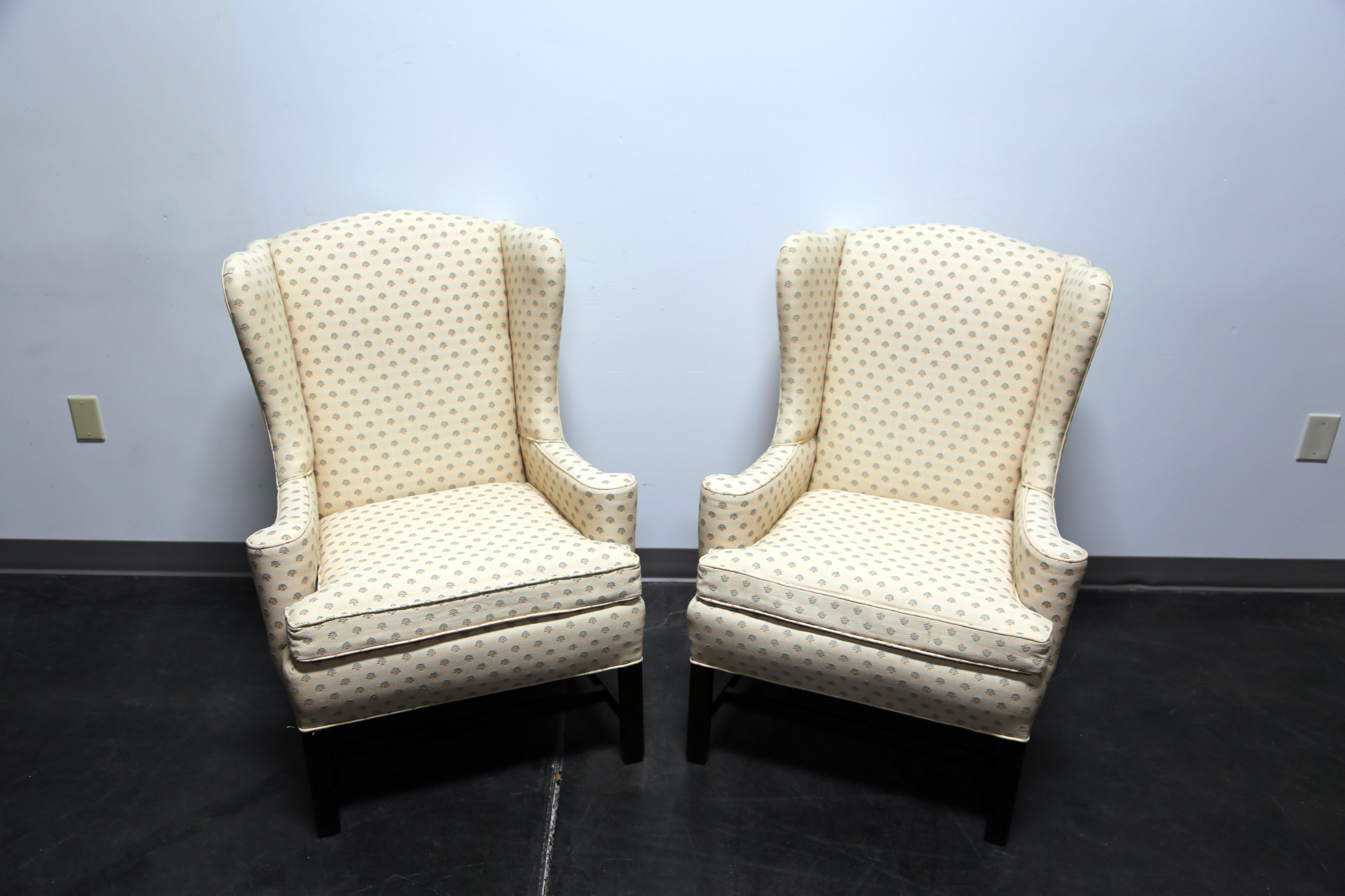 Chippendale Style Mahogany Wing Back Chairs By Conover Chair Co   Pair    Image 3 Of