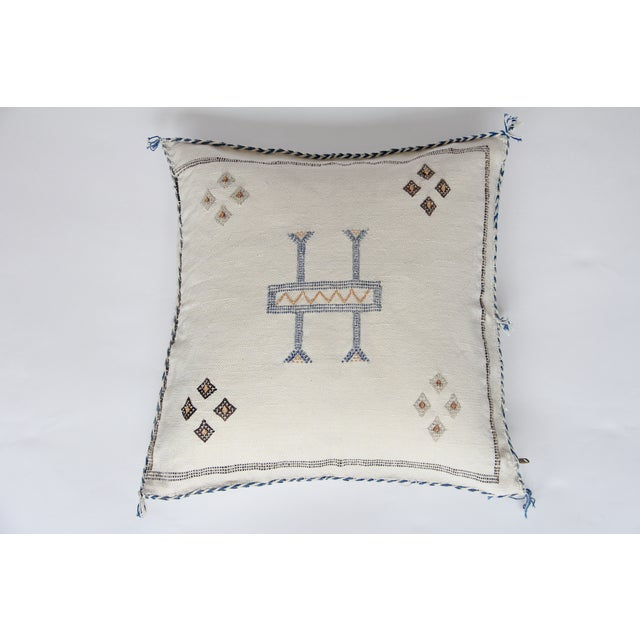 White Blue And Tan Cactus Silk Pillow - Image 2 of 4