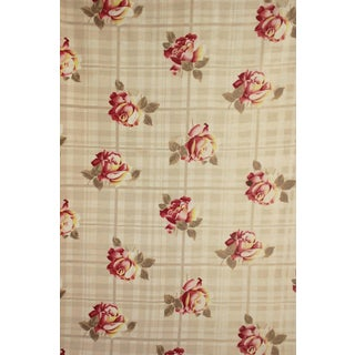 Vintage 1920-30s French Light Weight Cotton Material Rose & Plaid Design Fabric For Sale