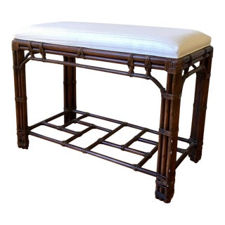 Chinoiserie Bamboo Upholstered Bench For Sale