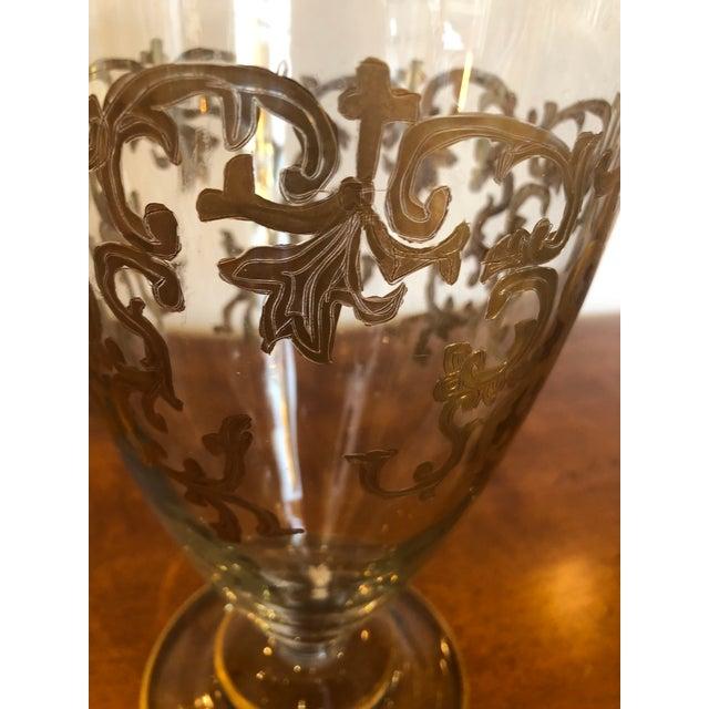 Vintage Gold Leaf Decorated Glass Vase For Sale In Philadelphia - Image 6 of 9
