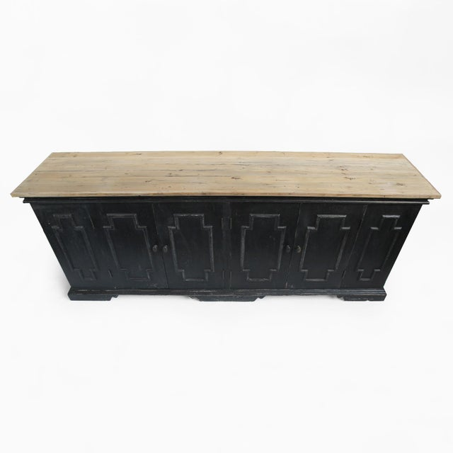 British Colonial Salvaged Black & Tan Sideboard For Sale - Image 3 of 10
