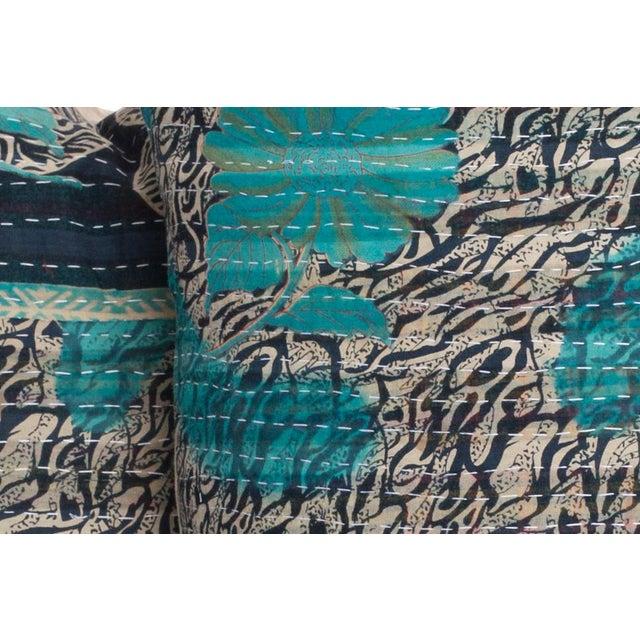 Pair Vintage Indian Kantha Quilt pillows.