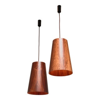 Pair Large Rosewood Cone Pendants by Osten & Uno Kristiansson, Sweden, 1960s For Sale