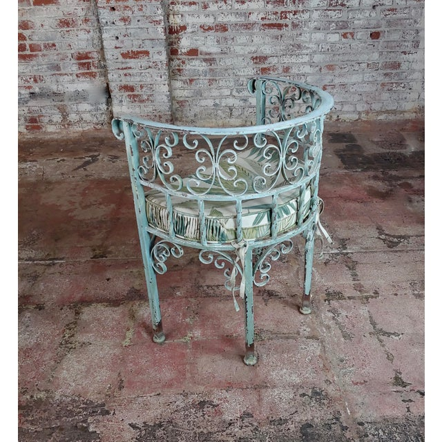 Gray Art Nouveau Antique Cast Iron Patio & Garden Settee & 2 Chairs Set For Sale - Image 8 of 10