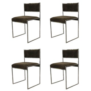 Set of Four Willy Rizzo Dining Chairs For Sale