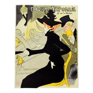 1970s Vintage Unframed Le Divan Japonais Vintage Poster Stamped by Museum Toulouse Lautrec For Sale