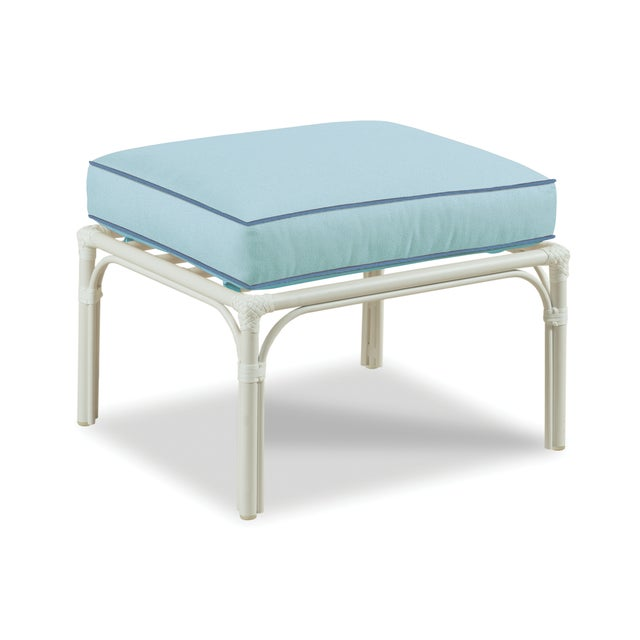 Traditional Haven Outdoor Ottoman, Mineral Blue and Sapphire For Sale - Image 3 of 3