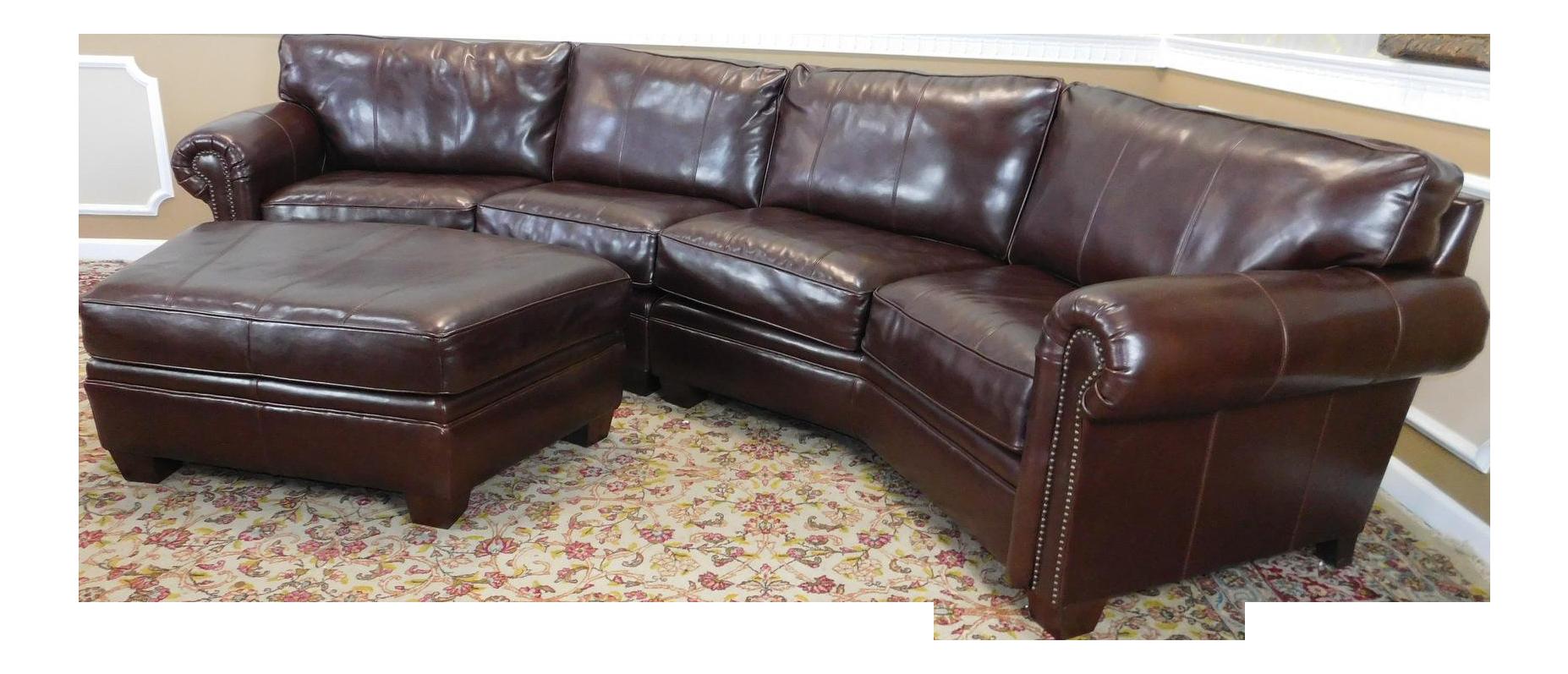 3 Piece Bernhardt Brown Leather Sectional Sofa Ottoman Chairish