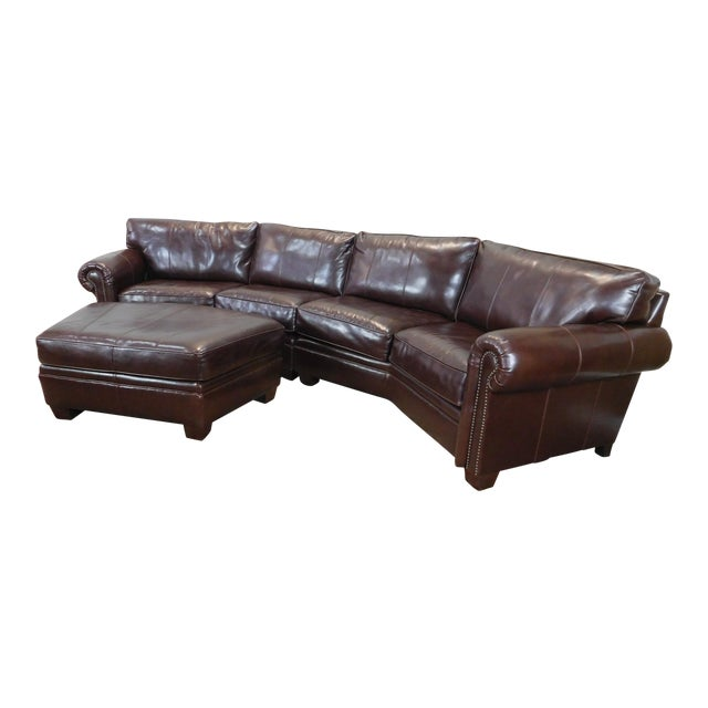 3-Piece Bernhardt Brown Leather Sectional Sofa & Ottoman