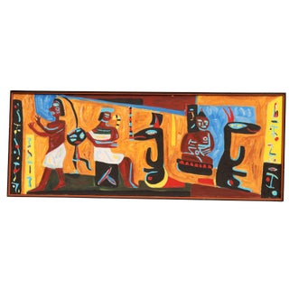 Mid Century Framed Tribal Painting on Canvas For Sale