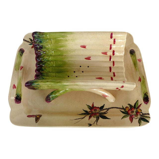 19th Century French Faience Asparagus Strainer & Attached Serving Dish For Sale