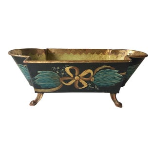 Antique French Tole Planter-Hand Painted &Gilt For Sale