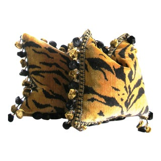 Clarence House Tiger Print Pillows - A Pair For Sale