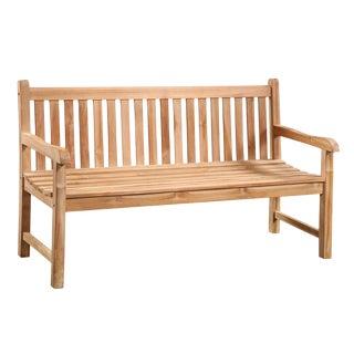 """Outdoor Slatted Teak Bench 59"""" For Sale"""