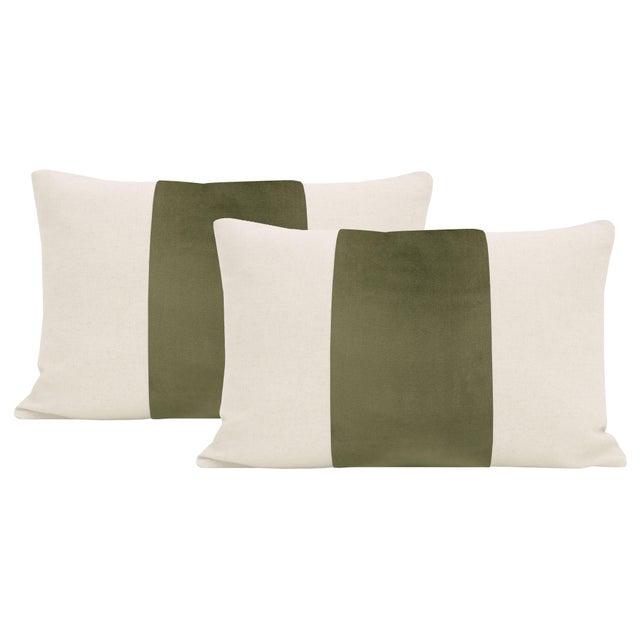 """12"""" X 18"""" Moss Velvet Panel & Linen Lumbar Pillows - a Pair For Sale - Image 6 of 6"""