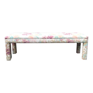 1980s Vintage Long Parsons Upholstered Floral Bench For Sale