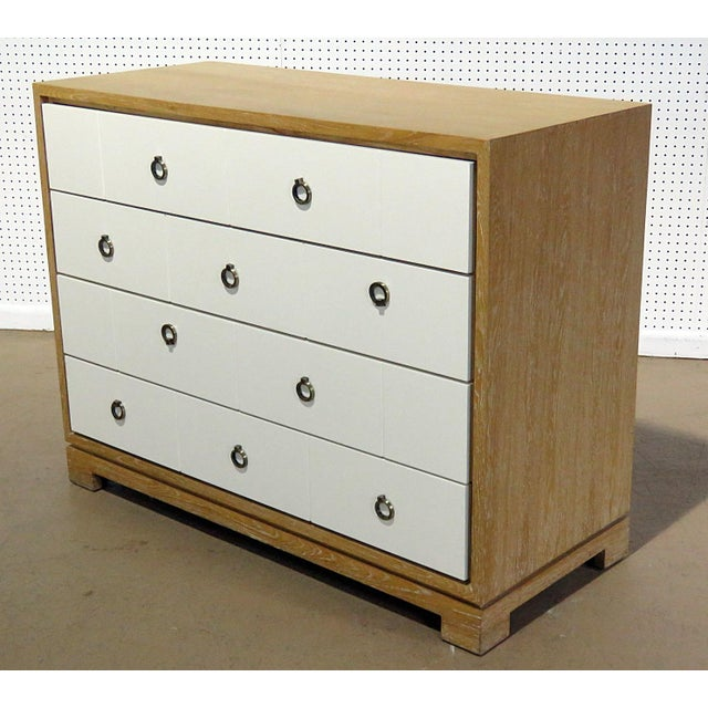 Mid-Century Modern white front wood 4 drawer chest.