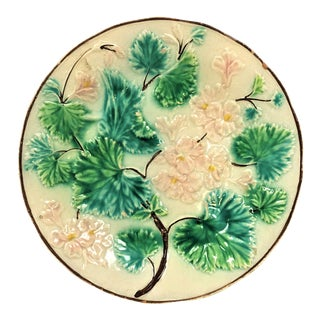 Antique Porcelain Plate With Pink Flowers For Sale