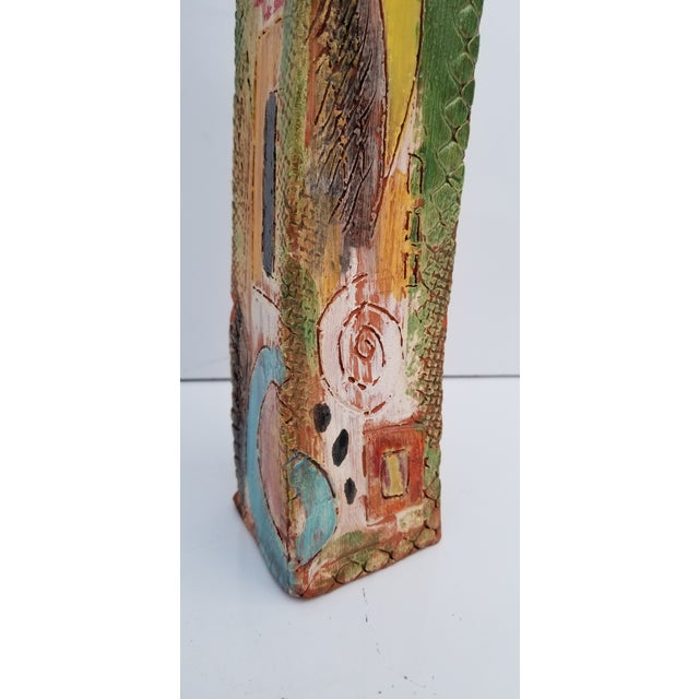 1980s Brutalist Hand-Painted Cubist Shape Pottery Vase For Sale - Image 11 of 12