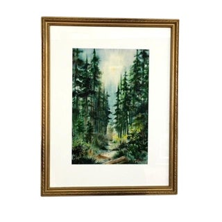 """1950's Forrestscape Watercolor Signed """"Berg"""" For Sale"""