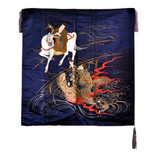 Antique Meiji Embroidery Silk Textile Tapestry Wall Art For Sale