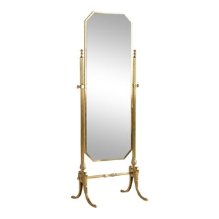 Vintage Brass Cheval Standing Floor Mirror, 1960s For Sale