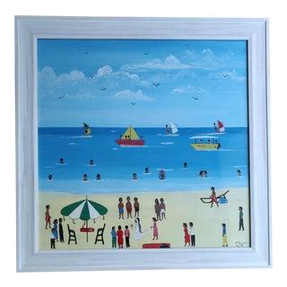 1980s Framed Beach Scene Painting For Sale