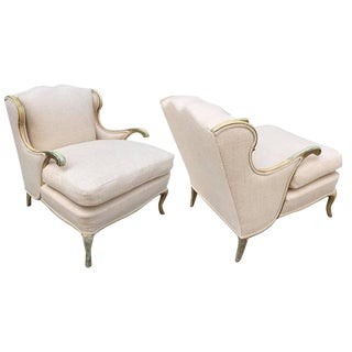 Pair of Gustavian Style Linen Lounge Chairs For Sale