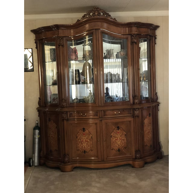 Golden Walnut China Cabinet For Sale - Image 4 of 4