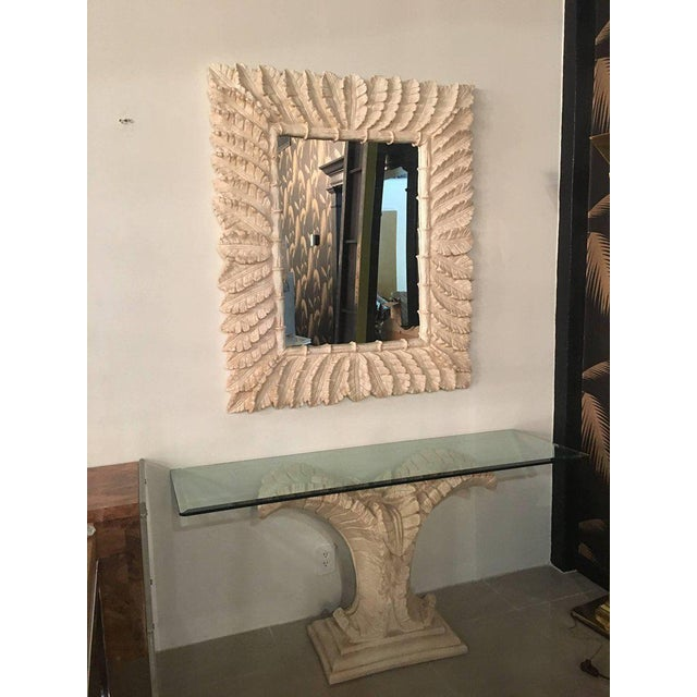 Tropical Palm Tree Faux Bamboo Console Table & Mirror - A Pair For Sale In West Palm - Image 6 of 11