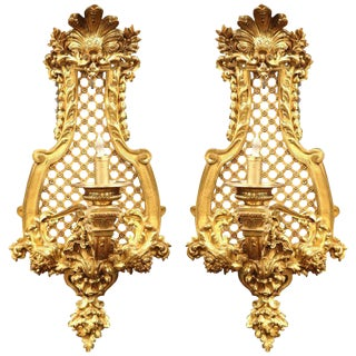 19th Century French Louis XV Bronze Sconces with Shell and Foliage - A Pair