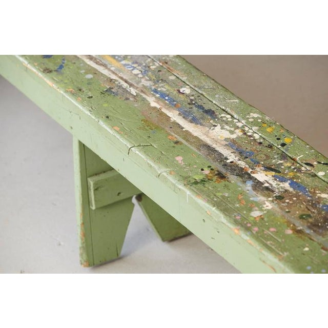 Primitive Green Pine Bench with Lots of Color Splashes from an Artist's Atelier For Sale - Image 4 of 10