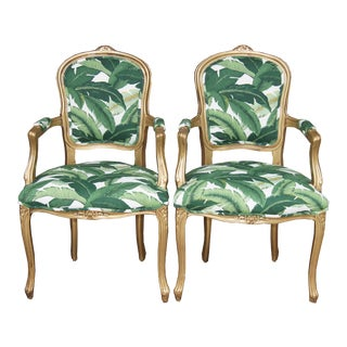 Vintage French Louis XV Chairs Green and White Palm Leaf Fabric With Gold Frame - a Pair For Sale