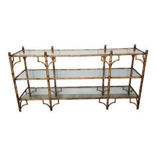 Italian Palm Beach / Hollywood Regency Faux Bamboo Console Table. For Sale