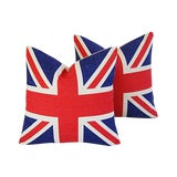 Image of Iconic British Union Jack Flag Linen Feather/Down Pillows - Pair For Sale