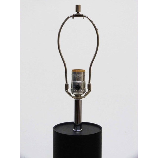 Black & Chrome Cylinder Table Lamp - Image 5 of 7