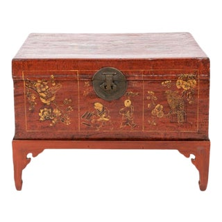 19th Century Chinese Trunk on Stand For Sale