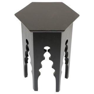 Levantine Moorish Style Hexagonal Black Side Accent Table For Sale