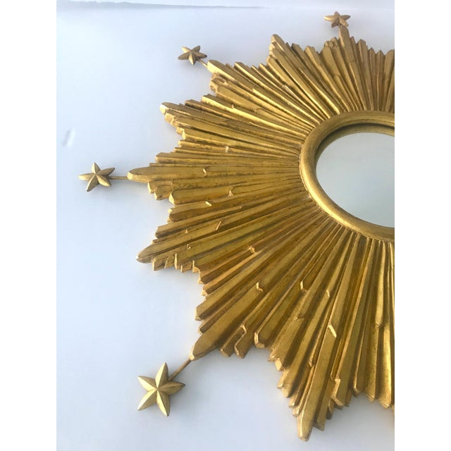 Exquisite Starburst Mirror With Antique Gold Leaf Finish For Sale In Miami - Image 6 of 13
