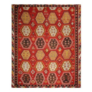 Vintage Mid-Century Geometric Red and Brown Wool Kilim Rug- 9′4″ × 11′2″ For Sale