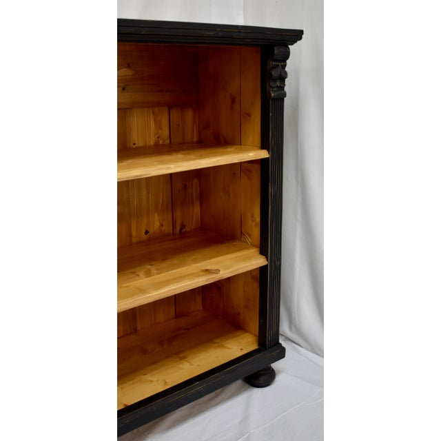 Long Country Pine Bookcase With Four Drawers For Sale - Image 10 of 13