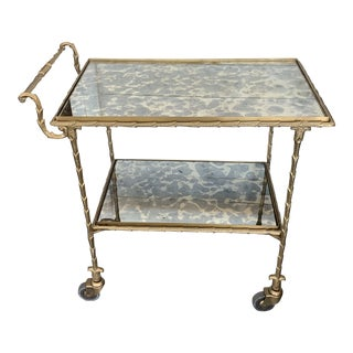 Josie Antique Mirrored Rolling Cart For Sale