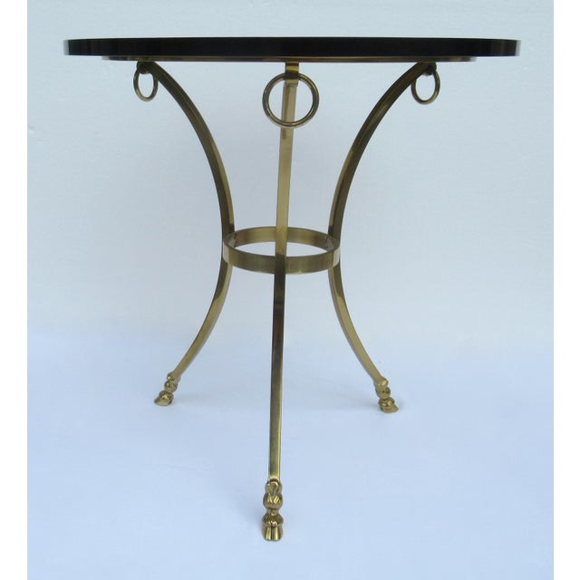 Vintage: c.1950s-60's LaBarge Hollywood Regency, solid brass, hoofed Gueridon table, with a bronze or smoke taupe, thick...