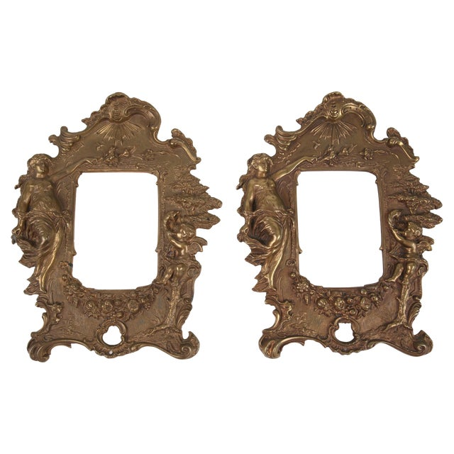 1970s Bronze Frames With Angel Motifs - Pair For Sale