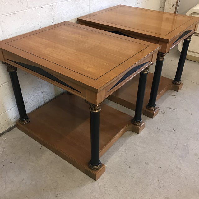 Neoclassical Style Wood End Tables - A Pair For Sale - Image 4 of 11